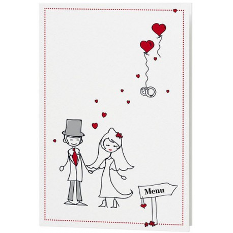 Menu Mariage Dessin Mariés Humoristique Coeurs Belarto Love