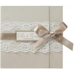 Faire-part mariage chic vintage creme dentelle Belarto Love 726076-W