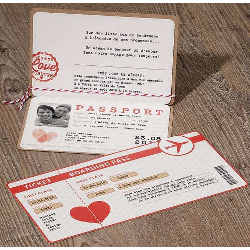 Favori part mariage original passeport billet avion marron rouge Belarto  AB03