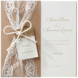 Faire-part mariage romantique dentlle pochette papier écologique Belarto Love 726075-W