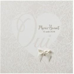 Faire-part mariage romantique chic coeur arabesque irisés Belarto Love 726068