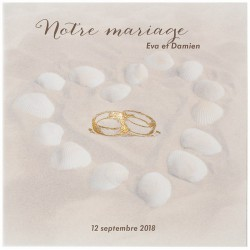 Faire-part mariage sable coquillage alliances vernis doré Belarto Love 726073-W