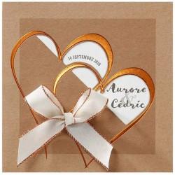 Faire-part mariage nature chic papier écologique coeur vernis doré Belarto Love 726061