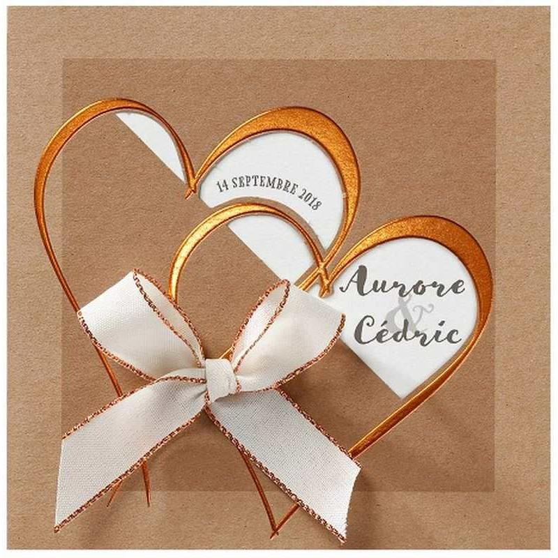 faire part mariage papier cologique coeur vernis dor belarto love 726061 w. Black Bedroom Furniture Sets. Home Design Ideas