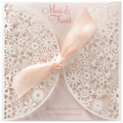 Faire-part mariage romantique rose pochette fleurs façon dentelle Belarto Love 726072-W
