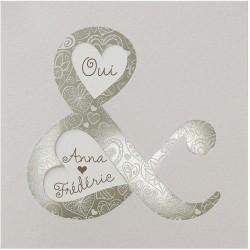 Faire-part mariage chic crème coeurs esperluette vernis bronzee Belarto Love 726035-W