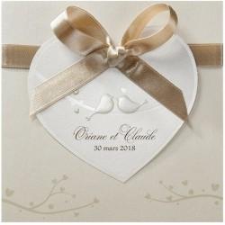 Faire-part mariage vintage crème coeur oiseaux vernis Belarto Love 726031-W