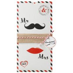 Faire-part mariage original lèvres moustaches noir rouge Belarto Love 726079