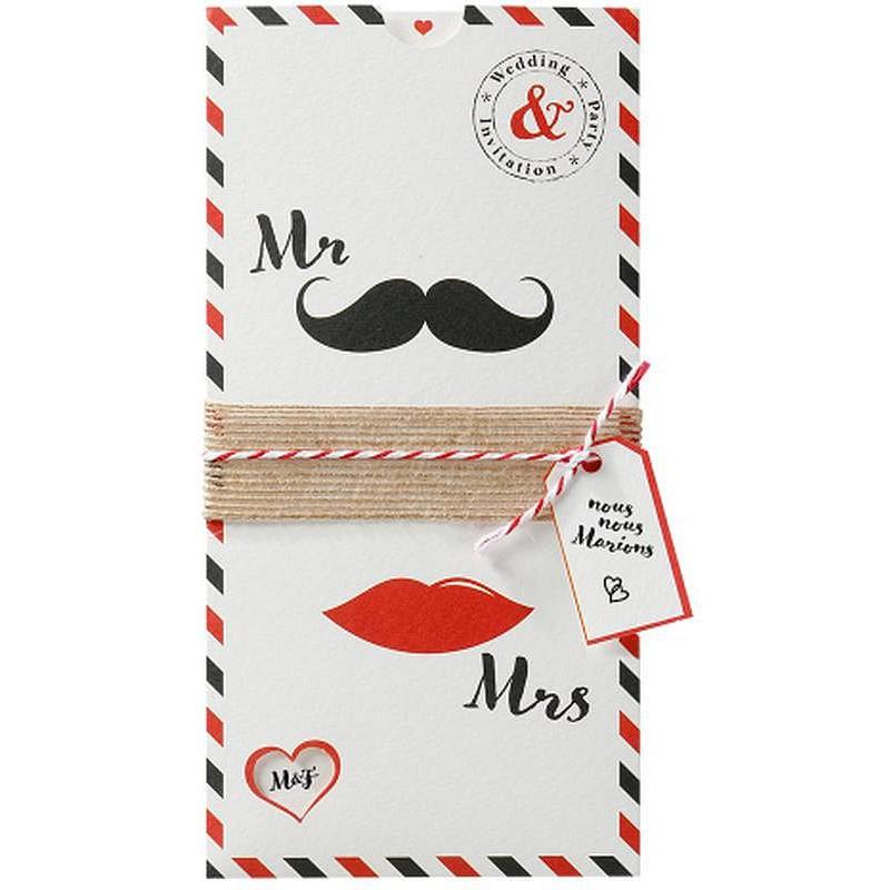 faire part mariage original l vres moustaches noir rouge belarto love 726079. Black Bedroom Furniture Sets. Home Design Ideas