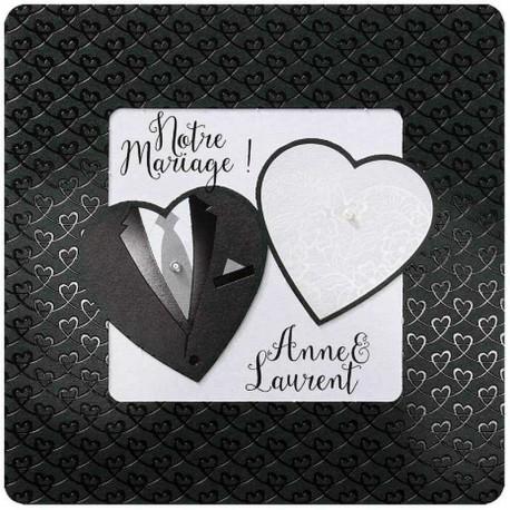 Faire-part mariage chic costume bustier coeurs Belarto Love 726004