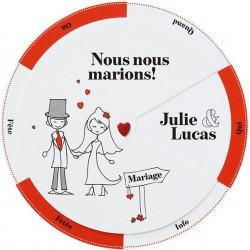 Faire-part mariage original humoristique blanc rouge gris Belarto Love 726005-W