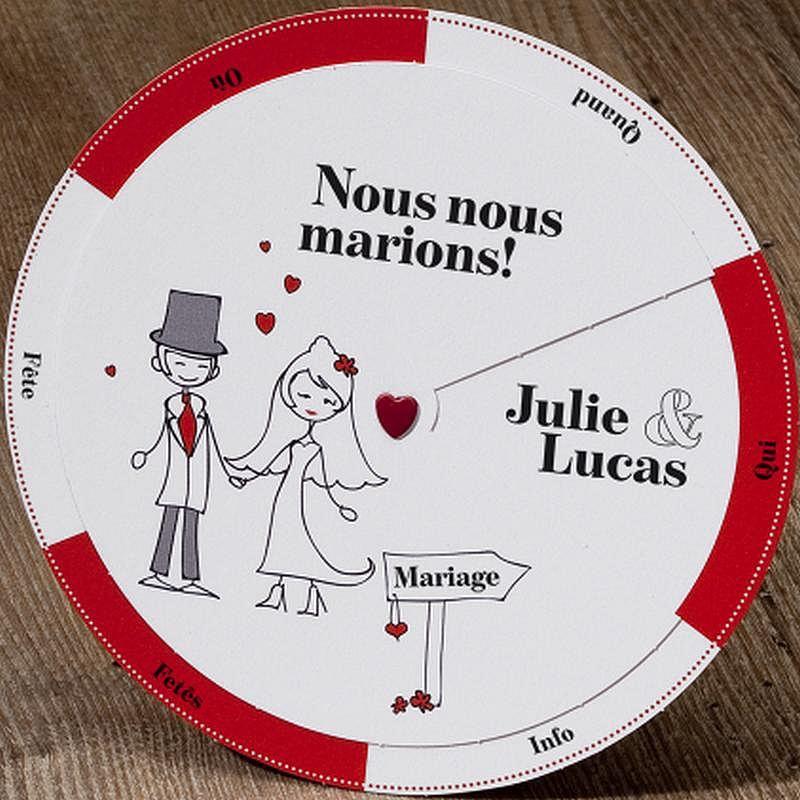 48bc87b8344 Faire part mariage original rouge et blanc - faire-part-gratuit.fr