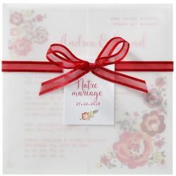 Faire-part mariage pochette calque fleurs multicolores ruban rouge Belarto Love 726039