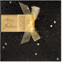 Faire-part mariage chic noir doré coeur ruban Belarto Love 726052