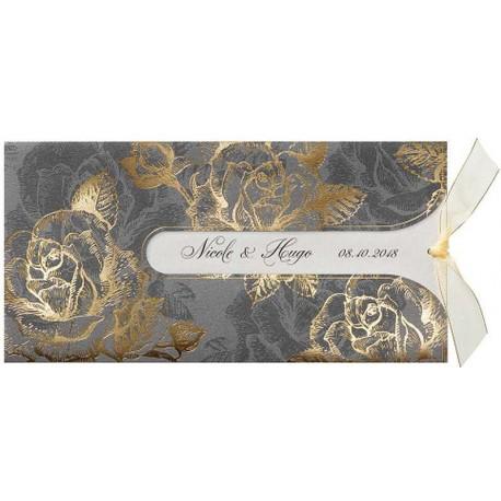 Faire-part mariage vintage gris fleurs dorées Belarto Love 726057