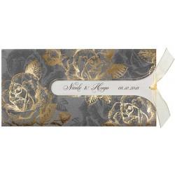 Faire-part mariage vintage gris fleurs dorées Belarto Love 726057-W