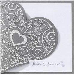 Faire-part mariage classique coeur gris encre de Suède Belarto Love 726064-W
