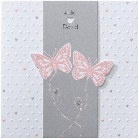Faire-part mariage chic romantique coeur gaufrage papillons roses Belarto Love 726030-W