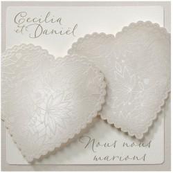 Faire-part mariage original chic crème coeurs Belarto Love 726050-W