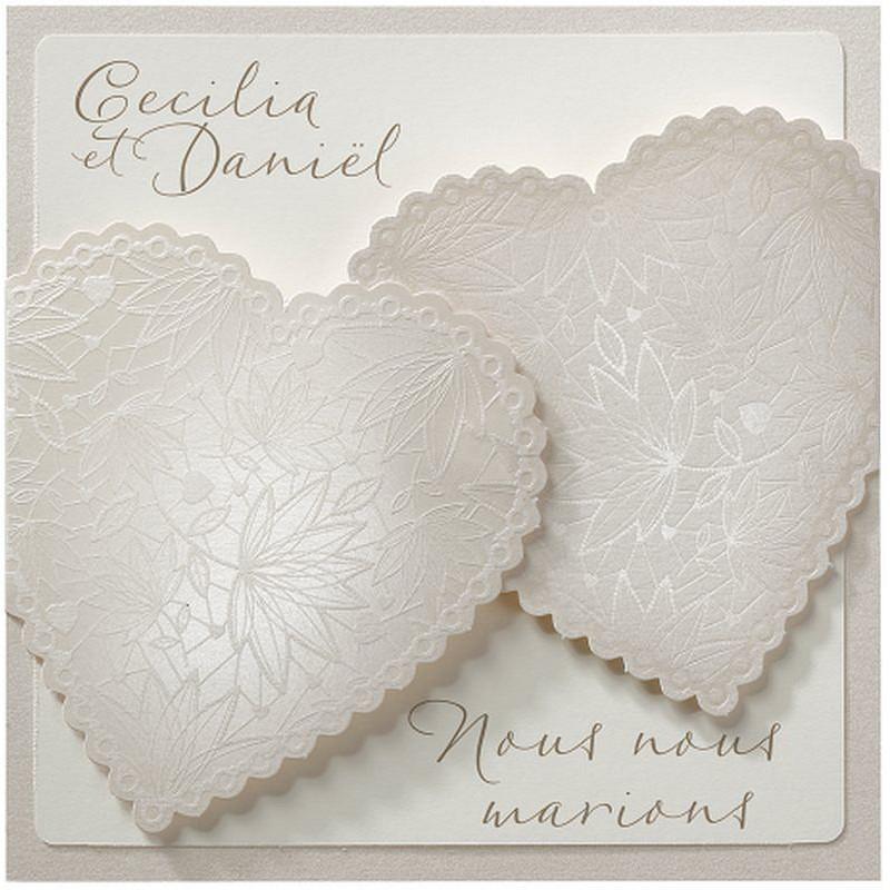 faire part mariage original chic cr me coeurs belarto love 726050 w. Black Bedroom Furniture Sets. Home Design Ideas
