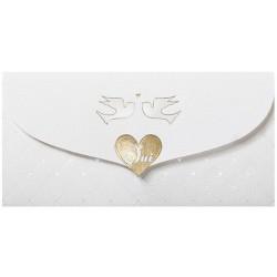 Faire-part mariage classique pochette crème oiseaux coeur doré Belarto Love 726029-W