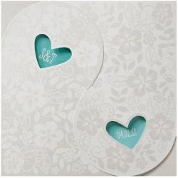 Faire-part mariage original coeur crème fleurs Belarto Love 726008