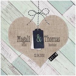 Faire-part mariage nature vintage bois peint coeur gaufrage Belarto Love 726002
