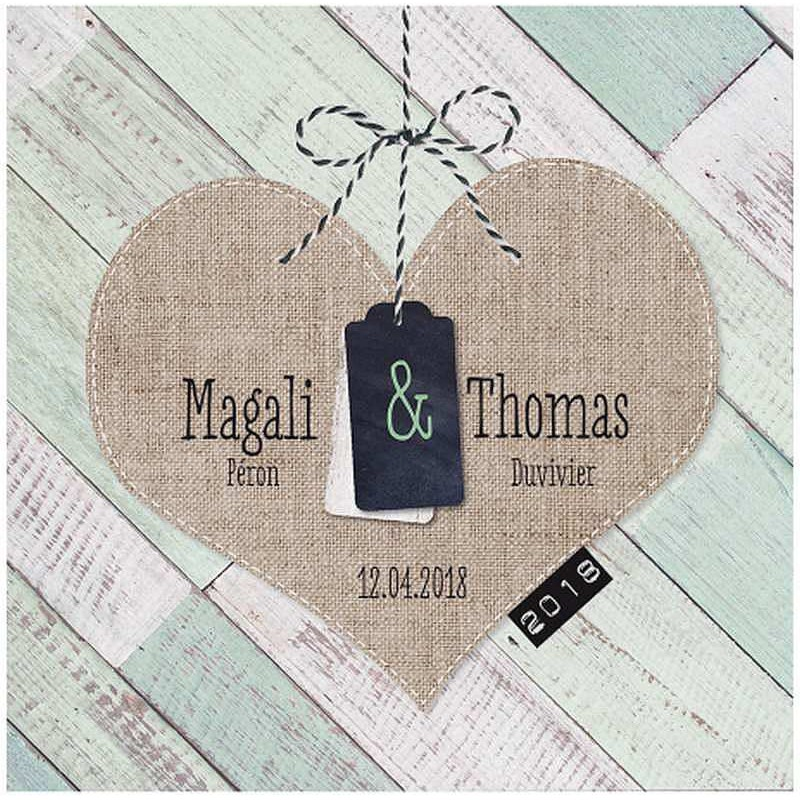 faire part mariage nature vintage bois peint coeur gaufrage belarto love 726002. Black Bedroom Furniture Sets. Home Design Ideas