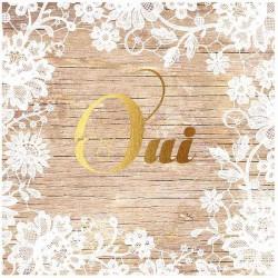 Faire-part mariage nature chic bois oui doré fleurs blanches Belarto Love 726034