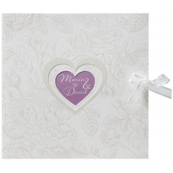 Faire-part mariage vintage crème coeurs fleur vernis Belarto Love 726054