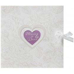 Faire-part mariage vintage crème coeurs fleur vernis Belarto Love 726054-W