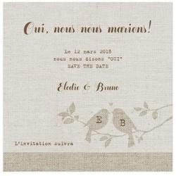 Carte lunch ou remerciements nature romantique taupe oiseaux - BELARTO Romantic 726516