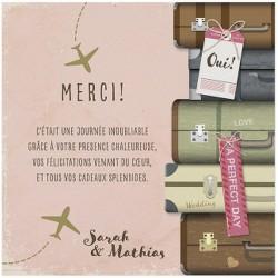 Carte lunch ou remerciements rose originale thème voyage - BELARTO Romantic 726513