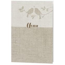 Menu mariage nature taupe oiseaux - Belarto Romantic 726616