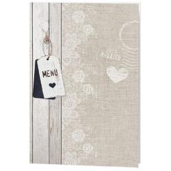 Menu mariage beige nature bois fleurs dentelle - Belarto Romantic 726601