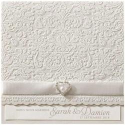 Faire part mariage classique arabesque encre de Suède strass ruban BELARTO Romantic 726058-W