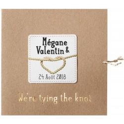 Faire part mariage original marron papier recyclé corde BELARTO Romantic 726060