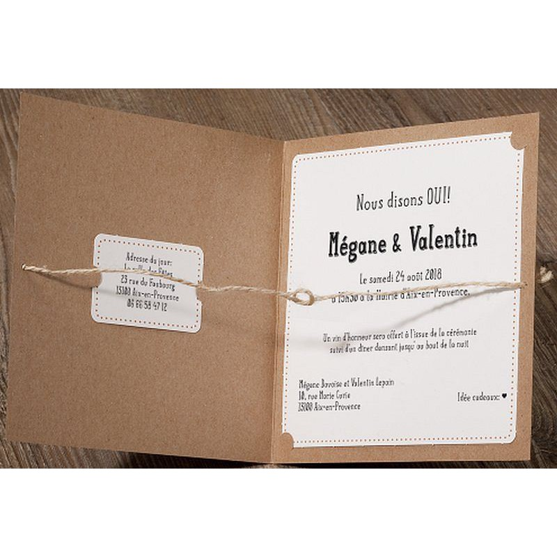 Souvent part mariage original marron papier recyclé corde BELARTO Romantic  MS04