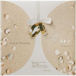 Faire part mariage pochette mer sable coquillages alliances BELARTO Romantic 726012-W