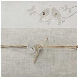 Faire part mariage nature romantique gris oiseaux argenture coeur BELARTO Romantic 726016