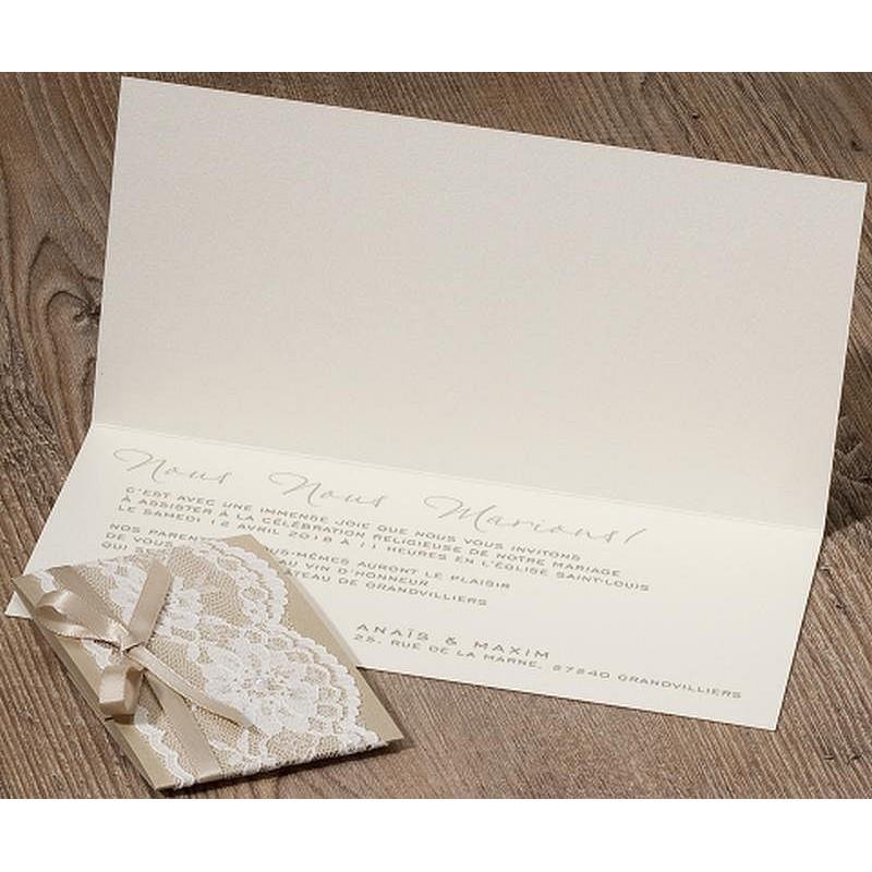 Populaire part mariage romantique chic crème ruban perle dentelle BELARTO  GY15