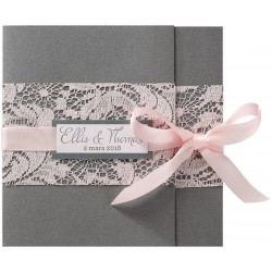 Faire part mariage romantique gris dentelle ruban roses BELARTO Collection Mariage 2020 620033-W