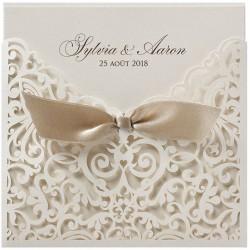 Faire part mariage pochette beige façon dentelle ruban BELARTO Romantic 726047-W