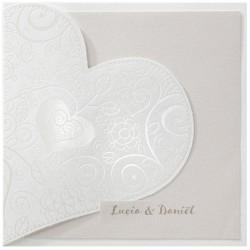 Faire part mariage chic crème coeur vernis BELARTO Romantic 726051-W