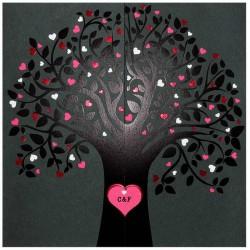 Faire part mariage original moderne fuchsia noir arbre BELARTO Romantic 726028