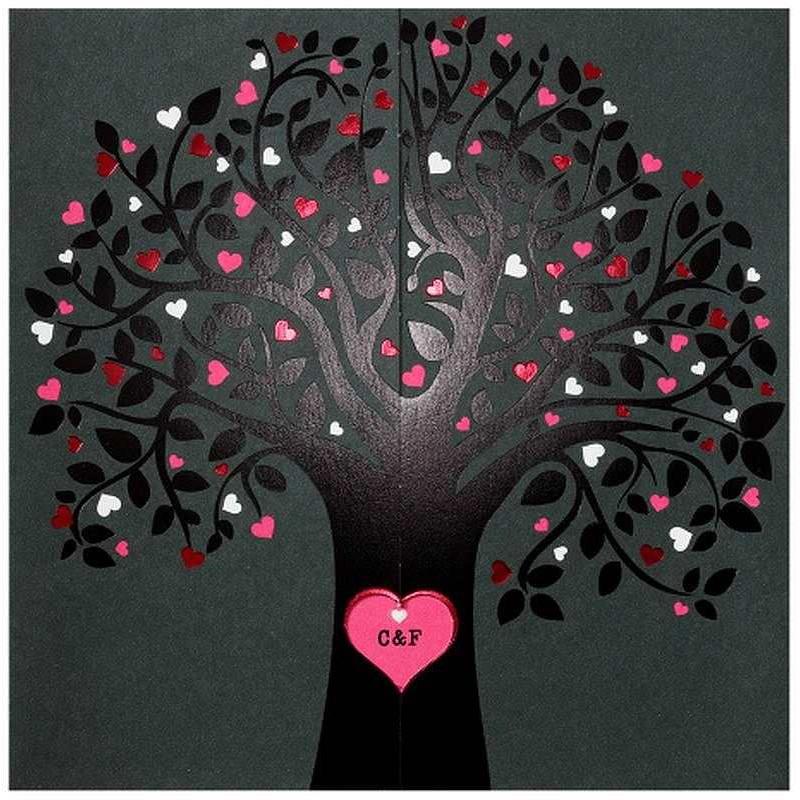 faire part mariage original moderne fuchsia noir arbre. Black Bedroom Furniture Sets. Home Design Ideas