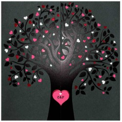 Faire part mariage original moderne fuchsia noir arbre BELARTO Romantic 726028-W