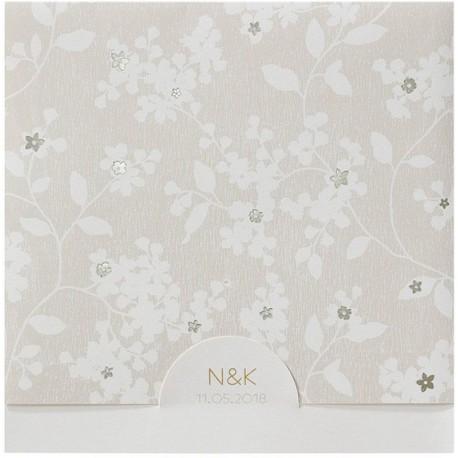 faire part mariage chic nature cr me fleurs dor es belarto romantic 726032 w. Black Bedroom Furniture Sets. Home Design Ideas