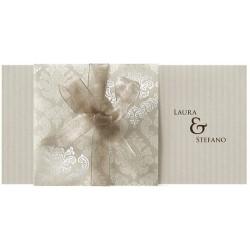 Faire part mariage classique vintage crème bronze ruban BELARTO Romantic 726038
