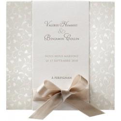 Faire part mariage vintage chic bronze ruban taupe BELARTO Romantic 726055